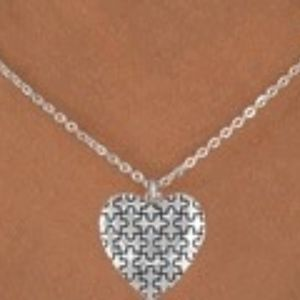 AUTISM Jewelry - Small Heart Puzzle Piece Necklace